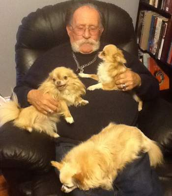 Gabbi, Reuben, and Gizmo all resting comfortably. Grandpa Mayer pretends that he hates it!